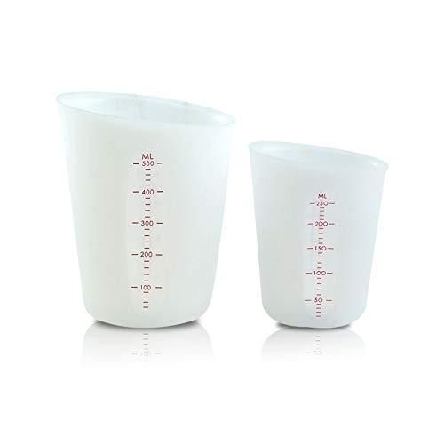 2 tazas Vasos Medidores de Silicona, 250/500ml Tazas Graduadas Translúcido Escala Precisa, Vasos Medidores Antiadherentes Cocina, Tazas Mezcladoras para Moldes de Fundición de Resina Artesanal