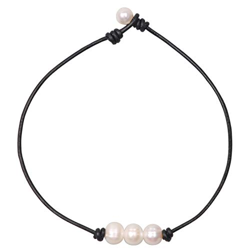 Charming Collection Women White 3 Cultured Freshwater Pearls Choker Necklace on Genuine Leather Cord Knotted Jewelry-Black 14