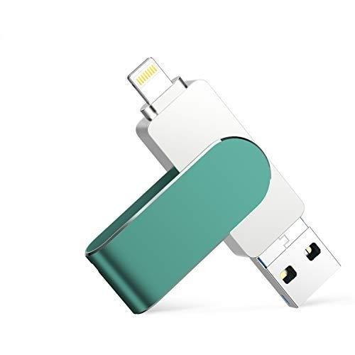 USB Stick für iPhone 128GB Qarunt 4 in 1 Speichererweiterung USB C Stick OTG Android Handy Externer Memory Stick Flash Speicherstick Laufwerk Drive für Type-c Android Laptop Tablet PC(Grün)