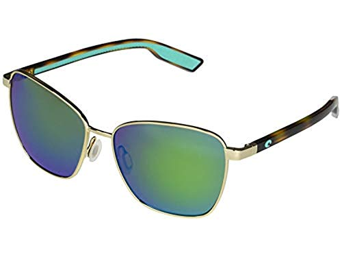 Bundle: Costa Women's Paloma Sunglasses Shiny Gold/Green Mirror 580P 58 & Kit