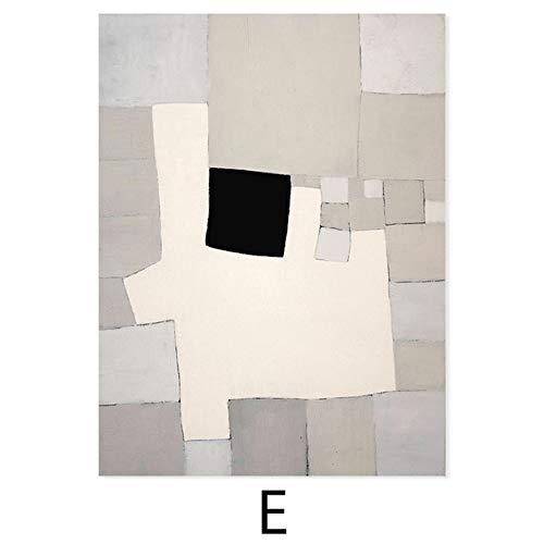 LiMengQi Patrón geométrico Abstracto del Color Beige de la Vendimia Pintura de la Lona Arte de la Pared Carteles e Impresiones para la decoración del hogar de la Sala de Estar (sin Marco)