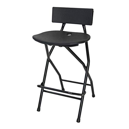 EventStable TitanPRO Folding Bar Stool with Backrest - Black Metal Frame Stool with Back Support - Durable and Sturdy Folding Stool for Outdoor Kitchen Shop Cafe