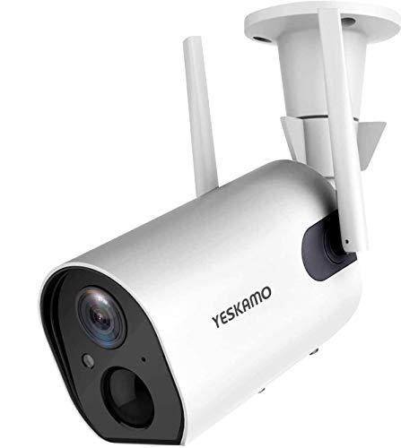 YESKAMO - Cámara de vigilancia para exteriores con batería de 10400 mAh, cámara IP WLAN 1080P, cámara de dos vías de audio, resistente al agua, detección de movimiento PIR