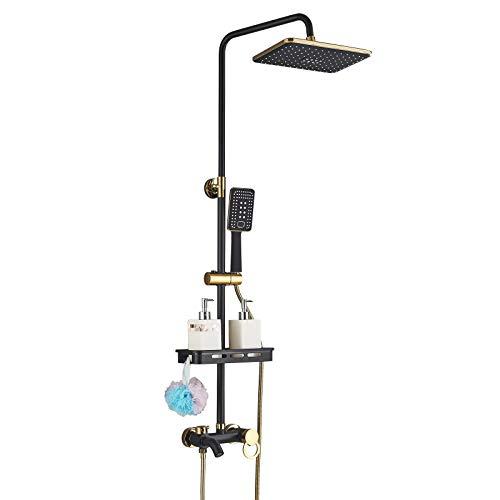 Onyzpily 3 Funktionen Duscharmatur Duschsystem Duschset Regendusche inkl. Kopfbrause, Handbrause, verstellbarer Duschstange, Dusche Duschpaneel Duschgarnitur Duschsäule Schwarz