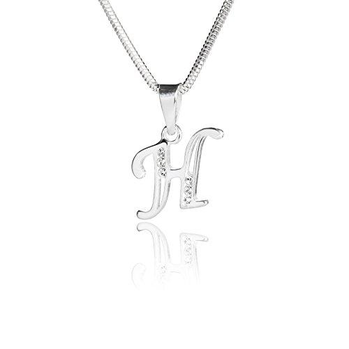 LillyMarie Eine Silberkette und Silberanhänger Buchstabe H mit klaren Steinen aus der Swarovski® Elements Kollektion, mit Schmucketui, Frau oder Freundin