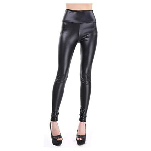 XBECO A Vita Alta Ecopelle Leather Leggings Faux delle Donne Nero Sexy Le Ghette Lucide dei Pantaloni Elastici più I Pantaloni Dimensione Buona Elasticità (Color : Black, Size : L)
