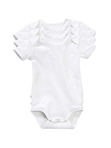VERTBAUDET Lote de 3 Bodies Blancos de Manga Corta 100% algodón bebé...
