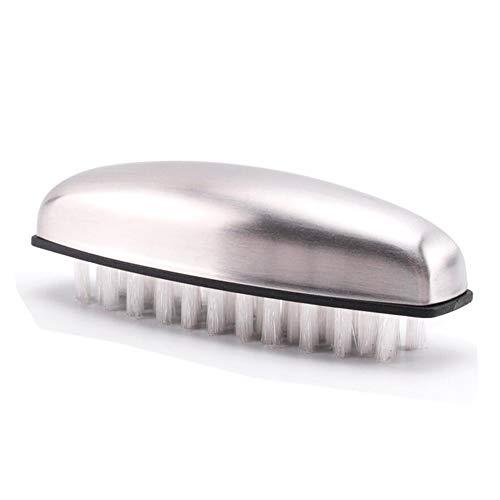 Amacoam RVS zeep reinigingsborstel 2-in-1, geurverwijderaar roestvrij stalen zeep, nylonborstel groenteborstel handwasborstel massageborstel 10,2 x 3,3 cm