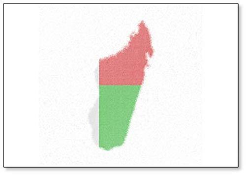 Kaart van Madagaskar. Mozaïek Stijl Kaart met Vlag van Madagaskar Blurred Koelkast Magneet