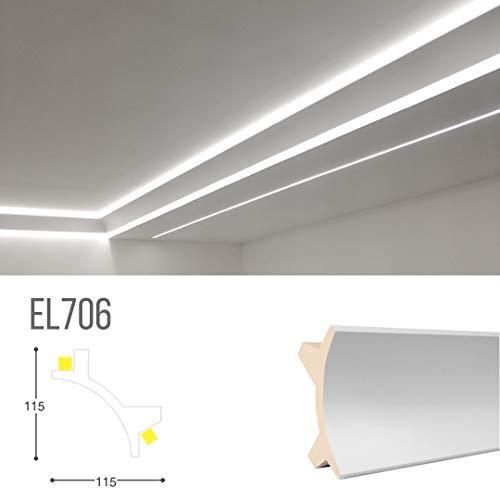 Cornice per illuminazione indiretta led doppia a parete e soffitto - EL706 (2 metri)