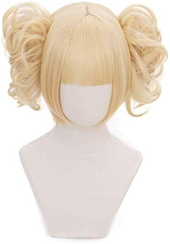 Anime Cosplay Pruik Mijn Hero Academia Pruik Korte Blonde Pruik voor Halloween Kostuum Party met Twee Afneembare Broodjes Synthetische Pruiken