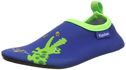 Playshoes Unisex-KinderBadeslipper Aqua-Schuhe Krokodil, Blau (Marine), 26/27 EU