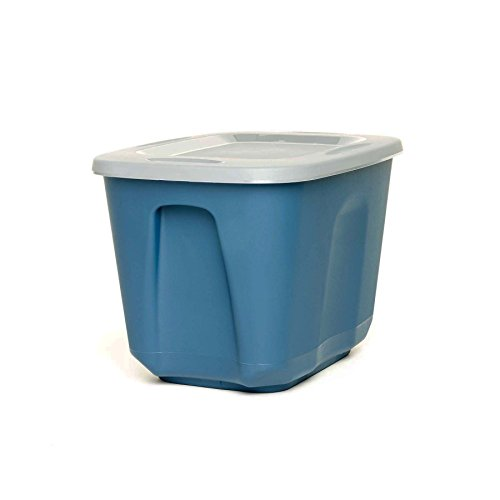 HOMZ 10 Gallon Eco Storage Container, Blue Base, Silver Lid, 4 Pack