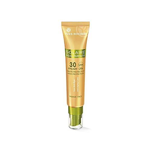 Yves Rocher SOLAIRE PEAU PARFAITE Anti-Age Pflegecreme LSF 30, Sonnencreme für das Gesicht, 1 x Tube mit Dosierspender 40 ml