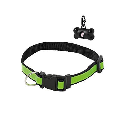 SUDEPETS Collar para Perros Reflectante con dispensador Bolsas cacas - Collares Ajustables para Perros pequeños ,medianos y Grandes
