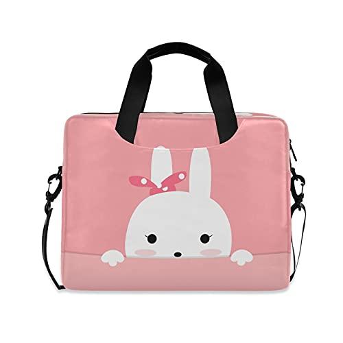 CCDMJ Laptop Case Cute Animal Rabbit Bunny Laptops Sleeve Shoulder Messenger Bag Briefcase Notebook Computer Tablet Bags with Strap Handle for Women Man Boys Girls 16 Inch
