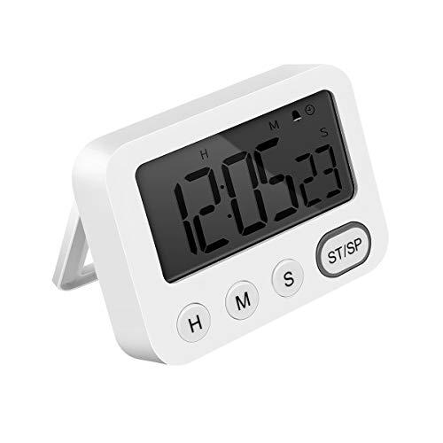 E-More Temporizador de Cocina Digital con Función de Reloj, temporizador de cocina digital con cronómetro magnético con alarma fuerte, 3 Niveles de Volumen, Respaldo Magnético, Soporte Plegable