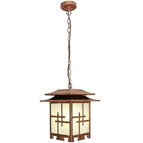 Lámpara colgante retra Lámpara de lámpara, lámpara de linterna impermeable impermeable IP65, accesorio de luz al aire libre, luces de porche de 1 ligero en el acabado Balck con techo de vidrio transpa