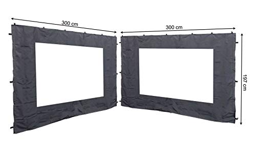 QUICK STAR 2 Side Panels with PE Window 300x197cm Anthracite for Gazebo 3x3m