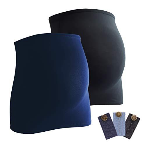 Mamaband Schwangerschaft Bauchband für die Babykugel im Doppelpack + 3erPack Jeanserweiterung – Rückenwärmer und Shirtverlängerung für Schwangere – Elastische Umstandsmode Schwarz/Dunkelblau 42-48
