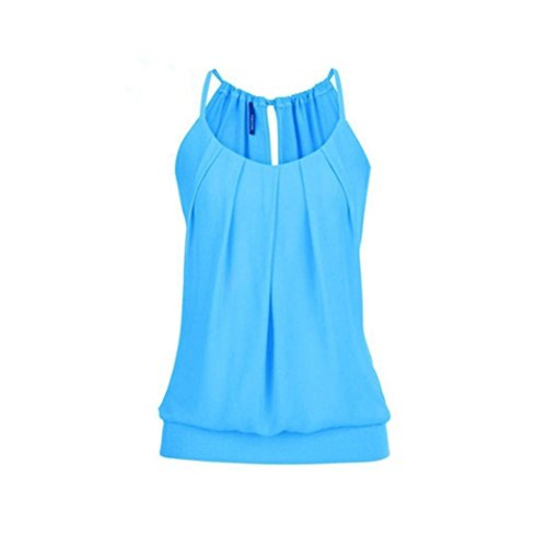 Toamen Gilet Femmes, Col rond En vrac Confortable Durable O cou Plier Tops Été Sept couleurs (XXXXXL, Bleu)