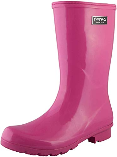 Roma Emma Women's Rain Boots, Mid-Calf Waterproof Rain Boots Made with Natural Vegan Rubber and Quick-Drying Knitted Cotton Lining, Magenta, 7 M US