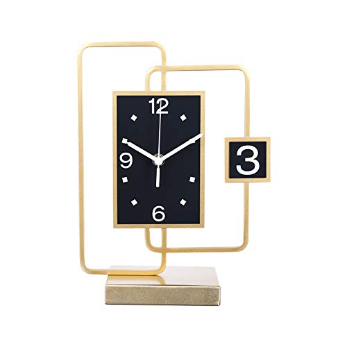 Reloj de Mesa Luz de Escritorio de Lujo Reloj Creativo Metal Metal Metal Table Adornos Adornos Batería de Carbono Powered Home Regalos para Amigos y Familiares Relojes de Escritorio