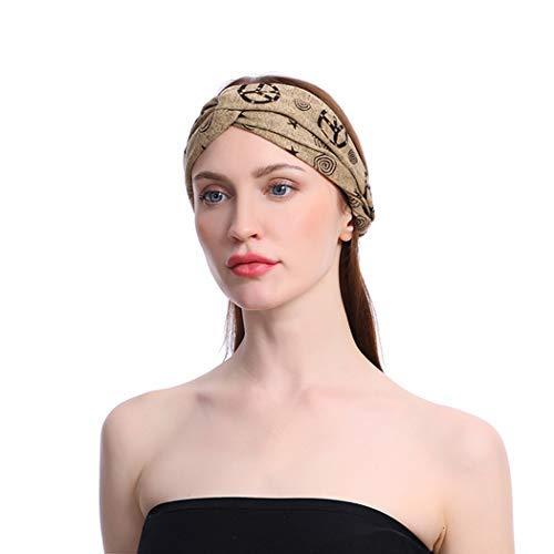 Sethexy Boho Moda Venda Camello Criss Crossc Elástico Sombreros Deporte Yoga Gimnasio Pelo Accesorios para Mujeres y niñas (3 piezas)
