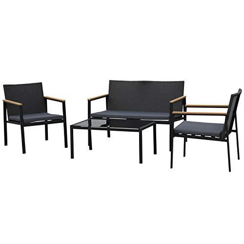 Outsunny Conjunto 4 Piezas Muebles de Ratán con Cojines Acolchados con 2 Sillones 1 Sofá para Doble para Jardín Exterior Terraza Patio Restaurante Cafetería Vidrio Templado Negro y Gris