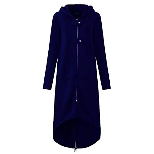 HANGMANGONGLU Jacks voor vrouwen capuchon met lange mouwen asymmetrische hem en lange stukken windjack Coat
