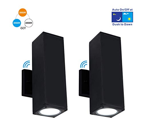Cloudy Bay 3 Color LED Outdoor Wall Light,Dusk to Dawn Photocell,24W 3000K Warm White/4000K Cool White/5000K Day Light Selectable, Up and Down Light, 2 Pack