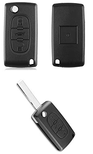 Carcasa para llave con mando a distancia con hoja HU83, carcasa de batería CE0536 con 3 botones, compatible con PG. 207-208 - 307-308 - 408