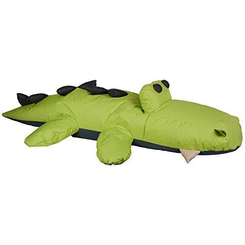 UNUS Sitzsack für Kinder, Krokodil Bodenkissen in Grün, Beam Bag Sitzkissen, Indoor und Outdoor, ohne Füllung 240cm