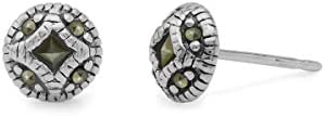 Boma Jewelry Sterling Silver Marcasite Vintage Style Button Stud Earrings product image