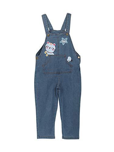 Baby Kleinkind Kinder Jungen Mädchen Jeans Latzhosen Denim Jeans Hosen für Frühling Herbst Cartoon Kätzchen und Sternen Größe 110cm