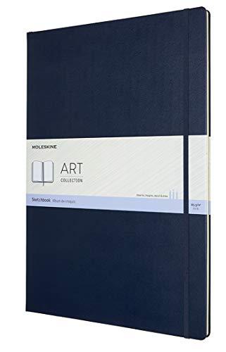 Moleskine Art Collection Skizzenbuch (Skizzenalbum, Hardcover und elastischer Verschluss, Papier Geeignet für Stifte, Bleistifte und Pastelle, Format A3 29,7 x 42 cm, 96 Seiten) saphirblau
