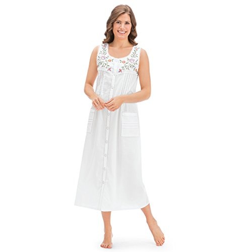 Women's Pintuck Floral Embroidered Night Gown, White, X-Large