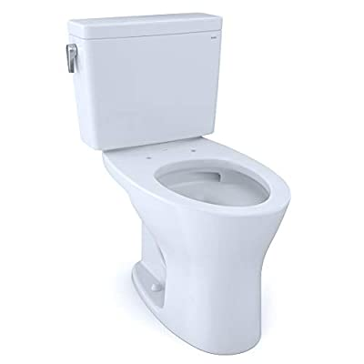 TOTO CST746CSMFG.10#01 Drake Two-Piece Elongated Dual Flush 1.6 and 0.8 GPF Universal Height DYNAMAX TORNADO FLUSH Toilet for 10 Inch Rough-In with CEFIONTECT