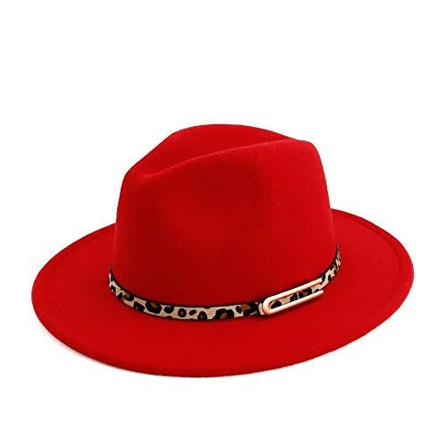 Fedoras Sombrero De Fieltro De Otoño/Invierno para Mujer Sombrero Hebilla De Cuero De Algodón De...