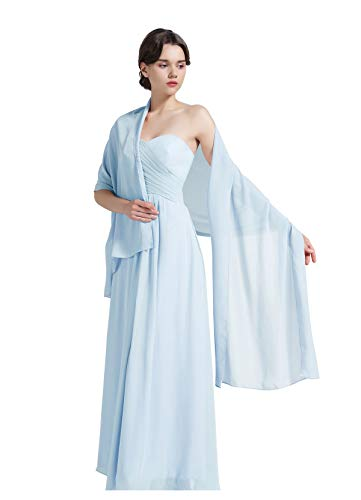 Damenschal aus Chiffon, für Brautjungfern Hochzeit Party Abendkleid, Shawl-01-Light Blue, Blau, Shawl-01-Light Blue
