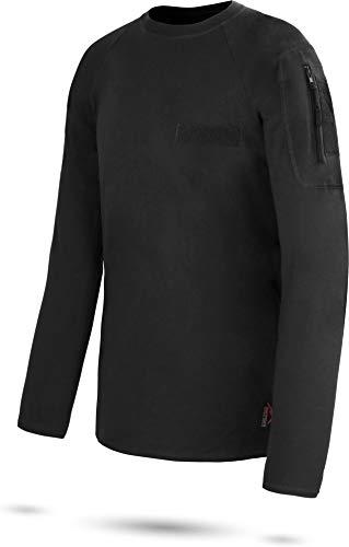 normani Tactical BDU Kampfshirt T-Shirt mit Klettpatches, Armtaschen & versteckten Seitentaschen Farbe Schwarz/Langarm Größe 10/3XL