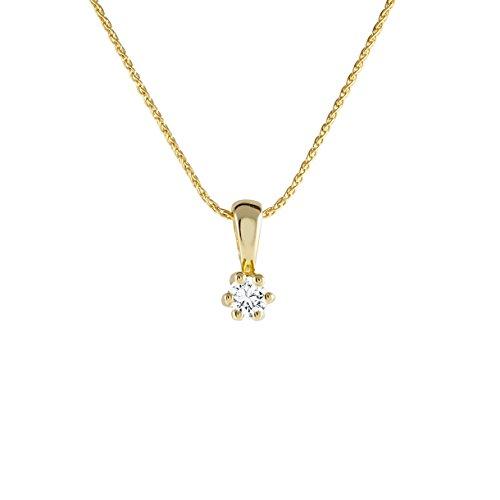 Diamond Line Goldkette mit Diamant-Anhänger 585 Gelbgold mit 1 Brillianten 0.05 ct. lupenrein