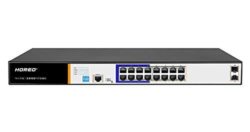 LINK LKSW16L2 Switch de red 16 puertos Gigabit Poe 250 W + 2 puertos SFP y 1 puerto consola Rj45 Layer 2
