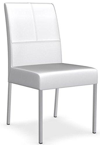 Calligaris Set 2 sedia BERLINER IN PELLE BIANCO CS/1448. Sedia imbottita in vera pelle e impreziosita da cuciture con struttura in Metallo