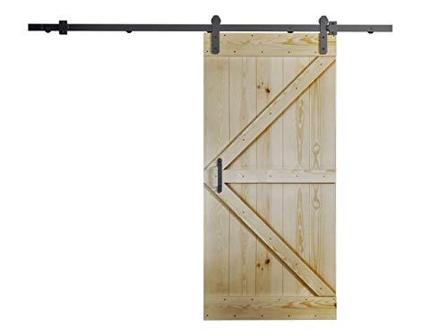 Mirjan24 Schiebetürsystem Nayon mit Selbstschließer, Komplett-Set, Schiebetürbeschlag, Holzschiebetür, Innentüren, Massivholz, Trennwände (Kiefer Massiv, Modell: 80)