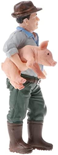 Livslig lantgård Djurmodell Figurin Barn Naturvetenskap Leksaksgåva - Farmer Holding Pig Action Figures