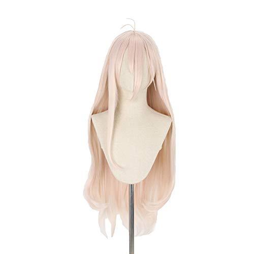 LZT 90cm/35,43''Lunga Ondulata Rosa Parrucca Cosplay Lunga Per Parrucca Cosplay Miu Iruma Con Cappuccio Gratuito