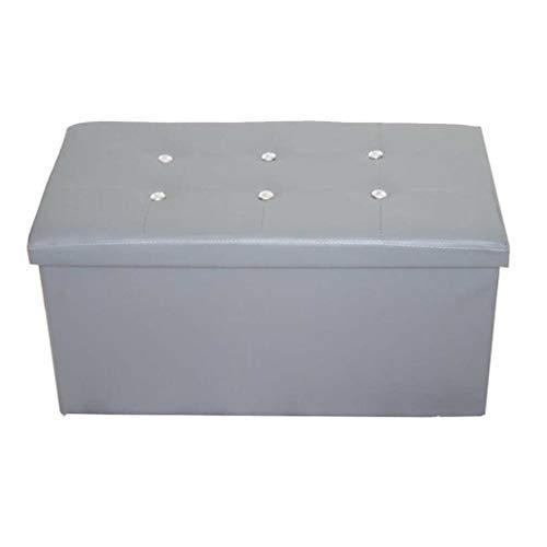 YCSD 76cm Rectangular De Gran Capacidad  Caja De Almacenaje, Plegable Otomana De Almacenamiento, Imitación De Cuero Resto del Pie De Heces, Doble Asiento,Pack - 2 (Color : Gray)