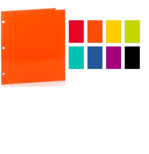 Promarx 2-Pocket 3-Hole Punched High Gloss Portfolio with Laminated Finish, Assorted Colors, 12 x 9.375 Inches, Pack of 48