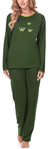 Merry Style Pigiama Manica Lunga Donna 91LW1 (Verde Scuro (Manica Lunga), XL)